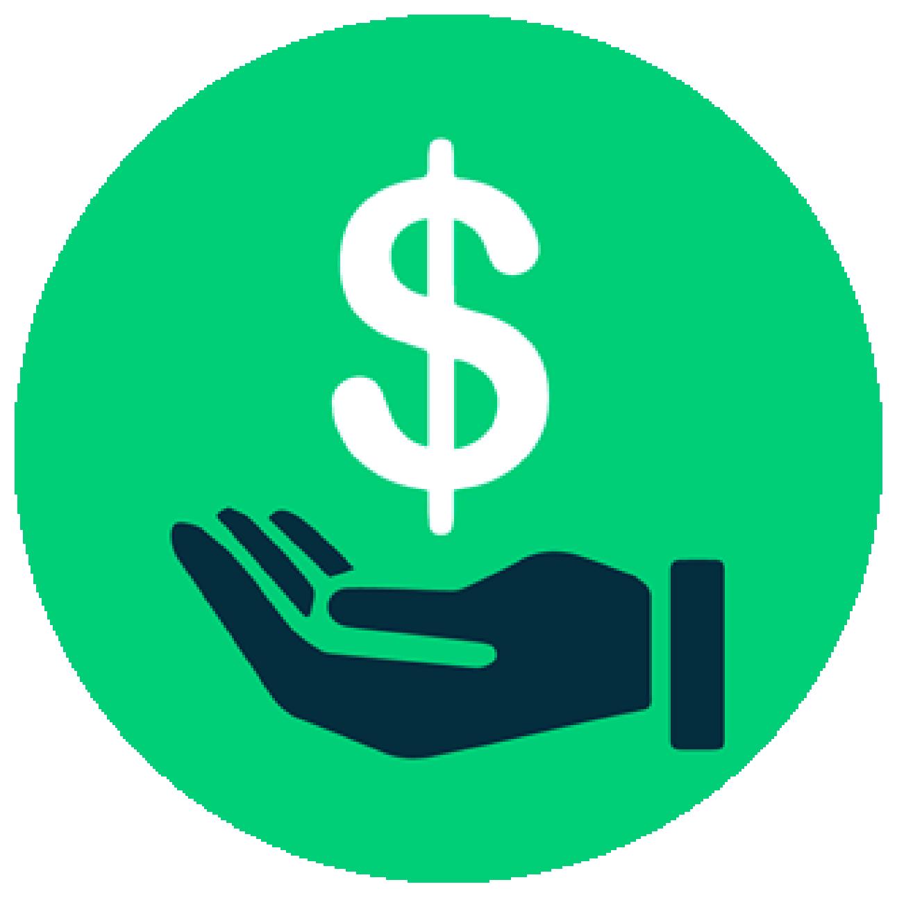 Icono verde con mano y símbolo del dinero
