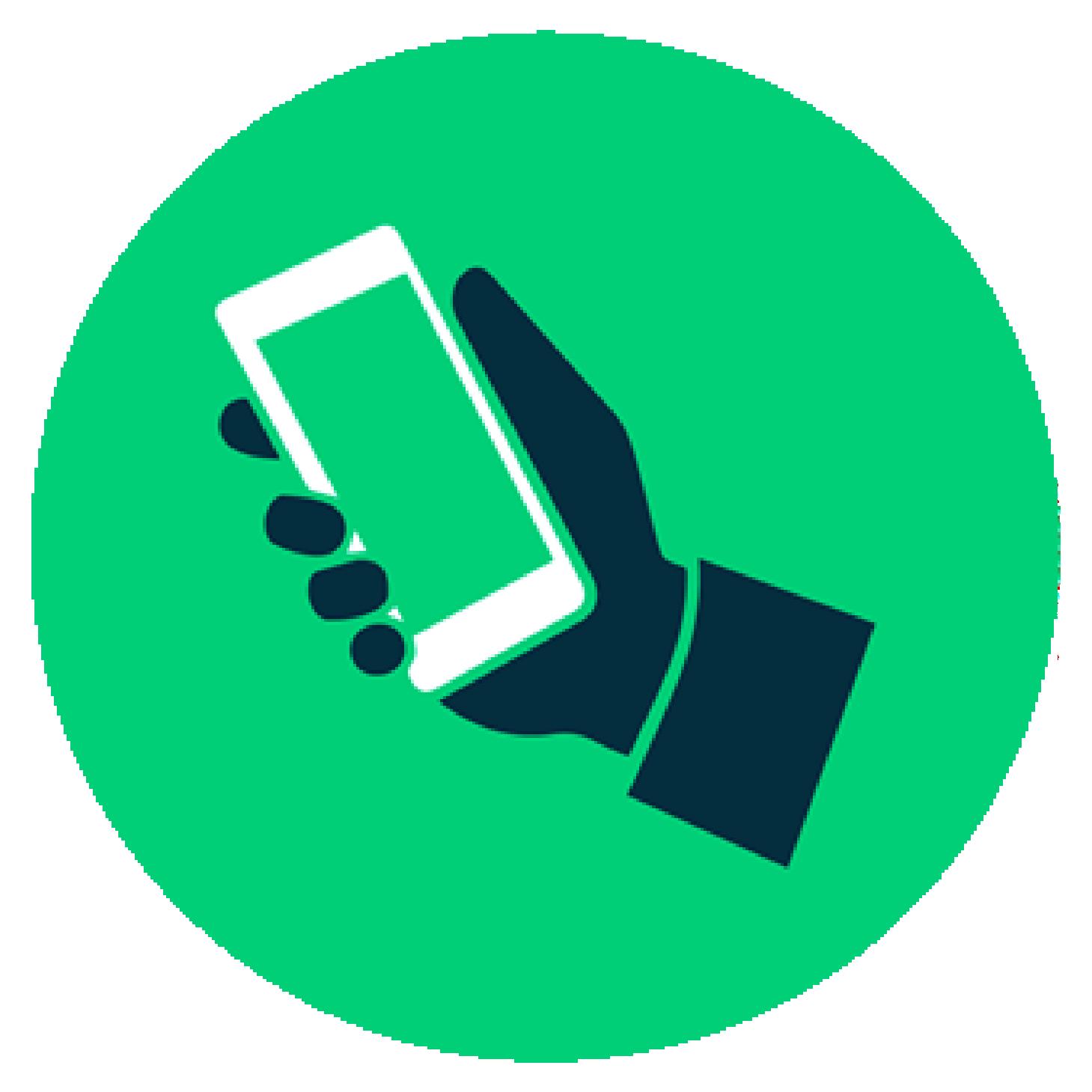 Icono verde de un mano y celular