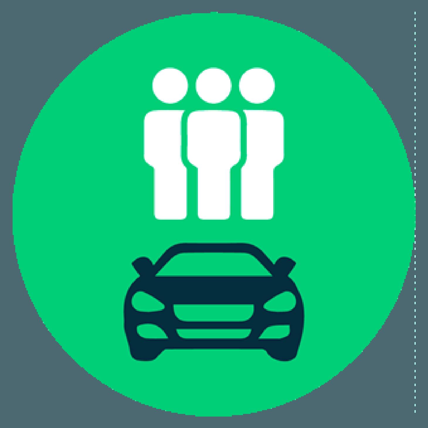 Icono verde con carro y personas