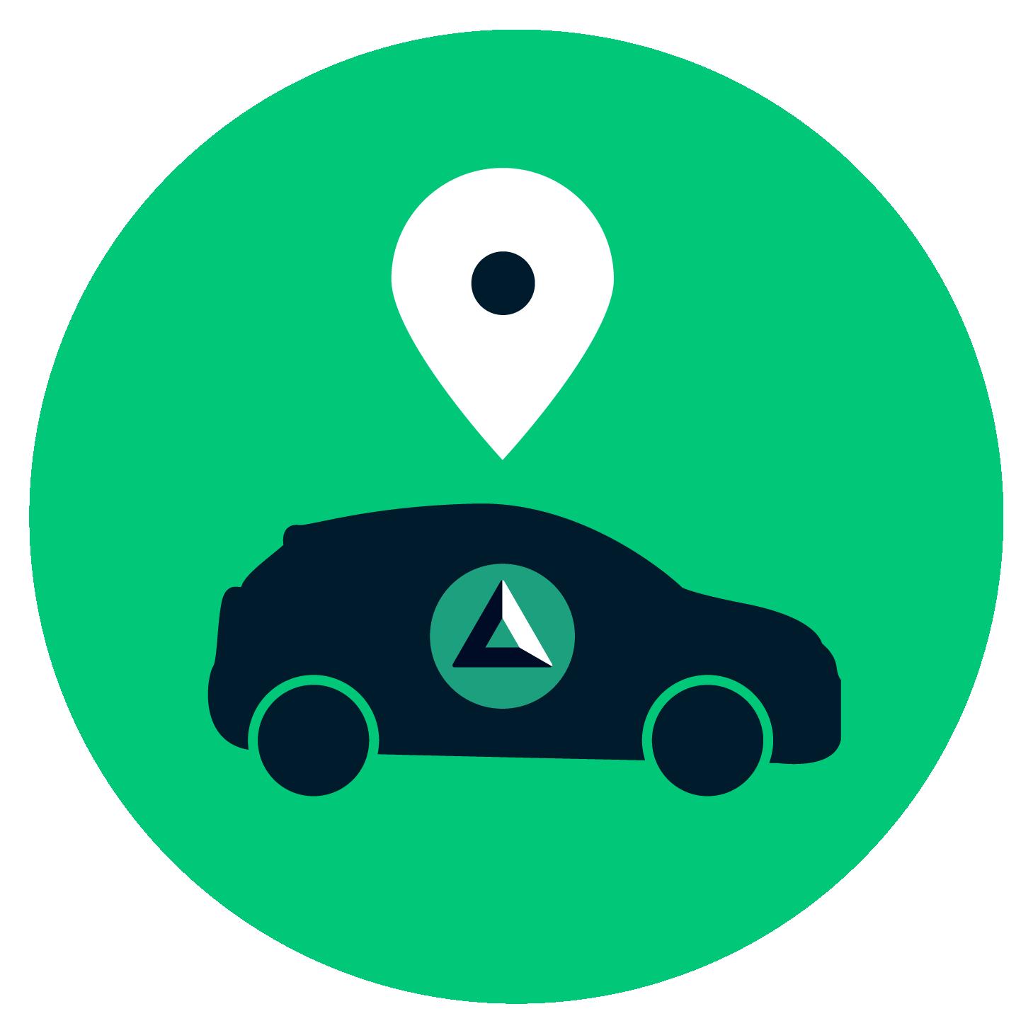 Icono verde con un carro y pin