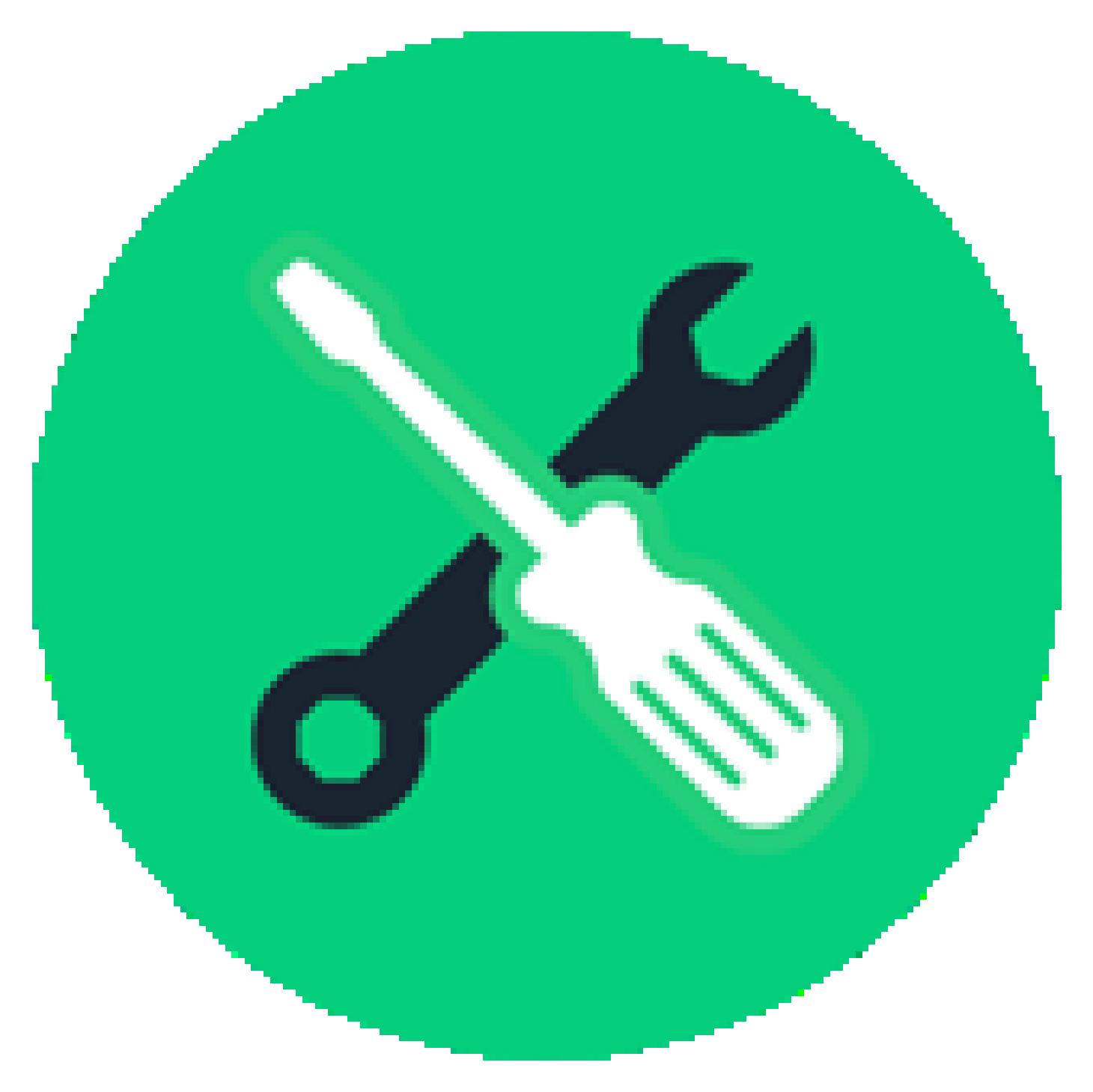 Icono verde con destornillador y llave inglesa