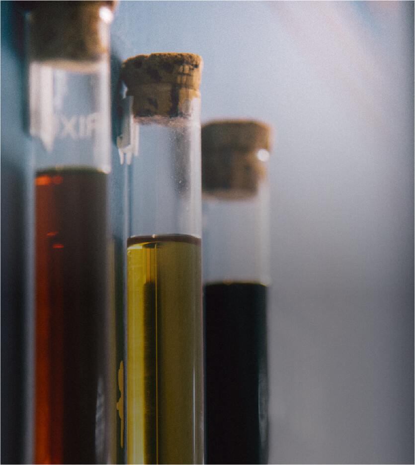 Tarros químicos sellados con relleno