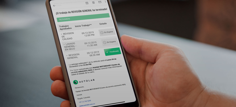 Reportes digitales de Autolab en un celular