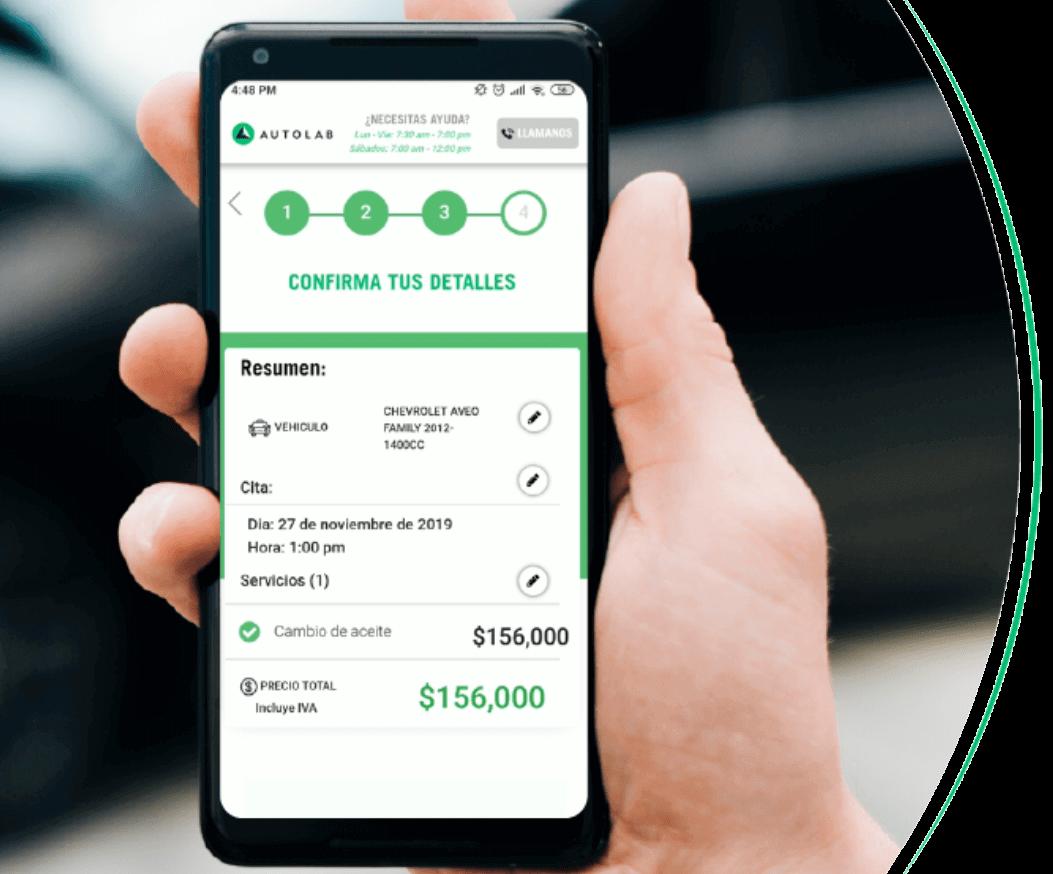 El sistema de reservaciones automatizada de Autolab en un celular