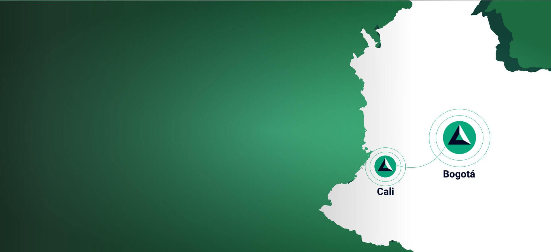 Mapa de Colombia con las ciudades Bogotá y Cali de forma Autolab
