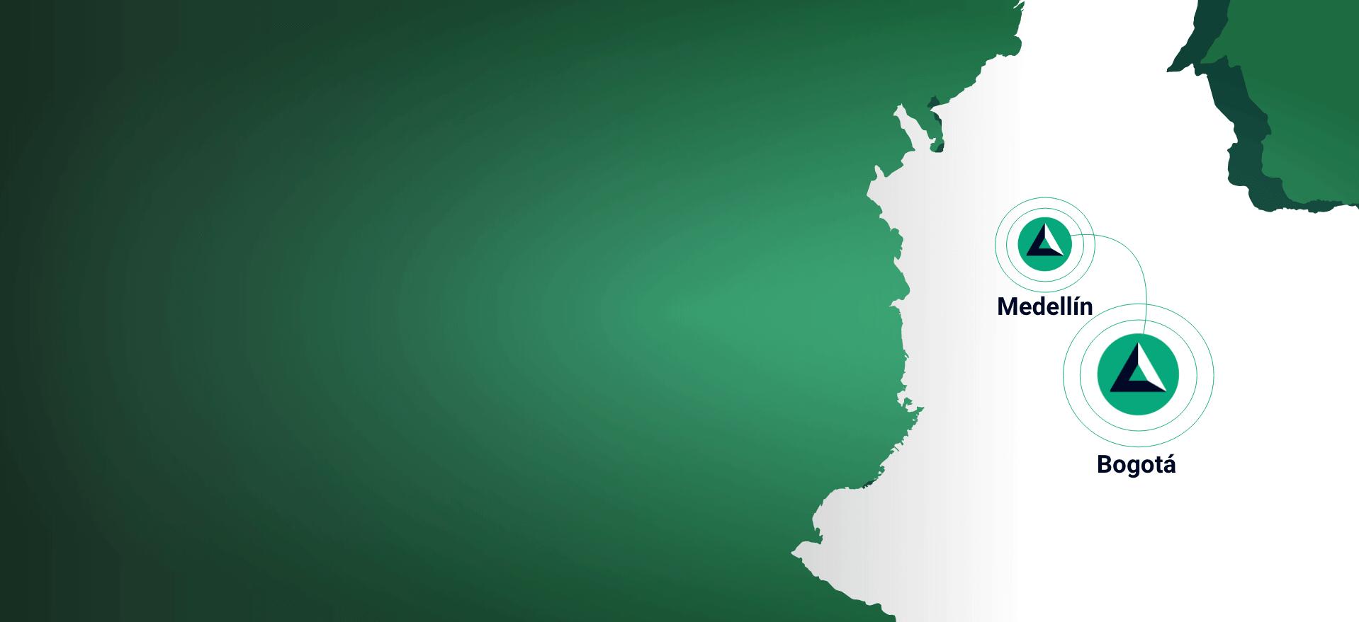 Mapa de Colombia con las ciudades Bogotá y Medellín de forma Autolab